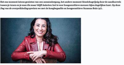 Suzanne Buis over hoogsensitiviteit artikel Vrouw Telegraaf